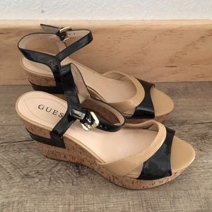 Guess Wedge Sandals Tan and Black